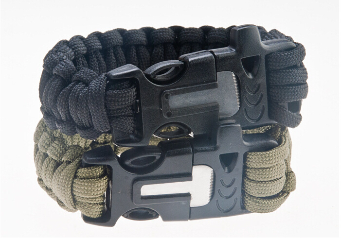 4 in 1 travel kit Survival Flint Fire Starter Paracord 550 Whistle Gear Buckle Camping Ignition Rescue Rope bracelet TK1001(China (Mainland))