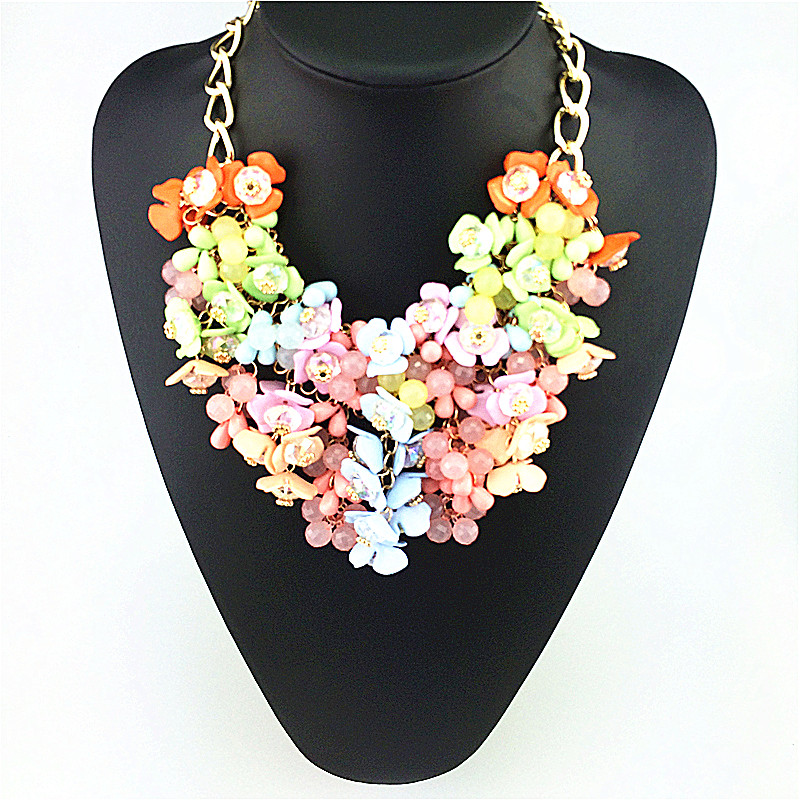 Flowers Blooming Like A Piece Of Brocade Fashion Necklace Spring Color Drop Flowers Statement Necklace For Girls Gifts Wholesale(China (Mainland))