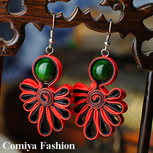 Traditional Soutache Red Ribbon Drop Earrings for women with Turquoise  Dark Green stone Chinese Handmade vintage jewelry(China (Mainland))