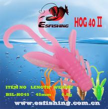 10 Colors Esfishing Ice Fishing Shrimp HOG 40 30pcs/ 3 Bags Double Color Fishing Lure Soft Plastic Bait Free Shipping(China (Mainland))