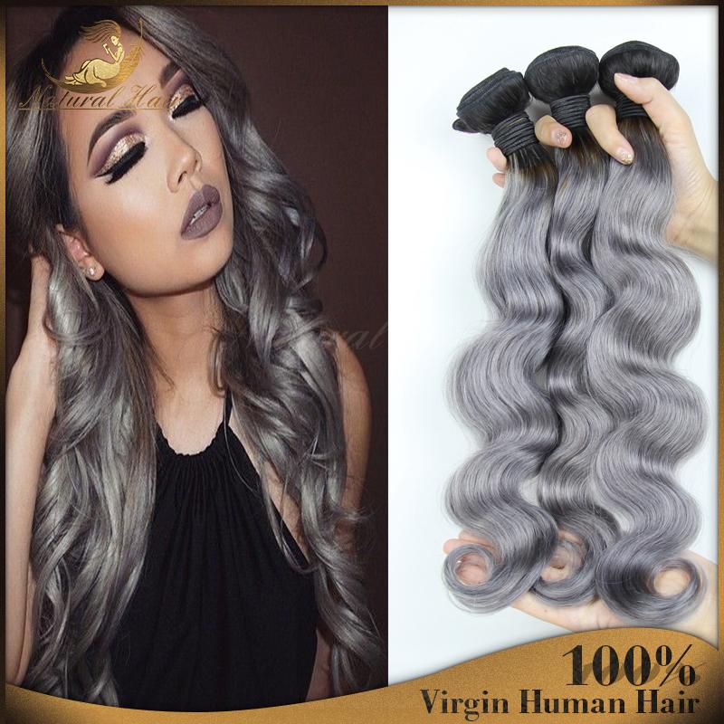 3Pcs Brazilian Ombre Virgin Hair Body Wave Hair Bundles Gray Human Hair Weave 7A Grade Top Remy Hair Extensions For Black Women<br><br>Aliexpress