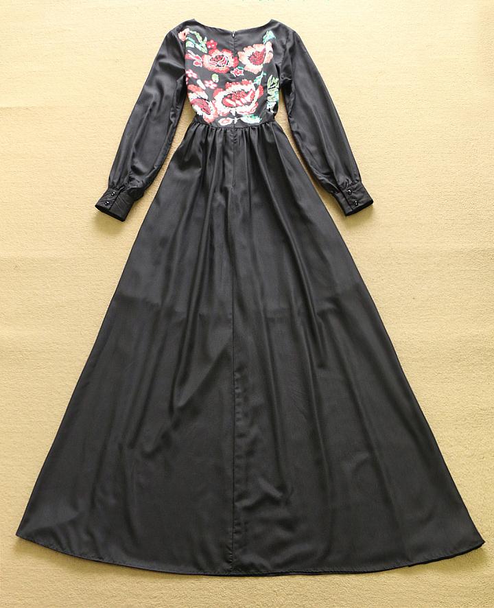 HIGH QUALITY New Fashion 2016 Women's Long Sleeve Noble Floral Print Black Long Maxi Dress