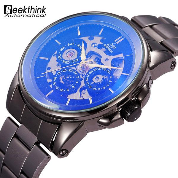Винтажные мужские наручные часы. Чёрный браслет из нержавеющей стали. Механика.