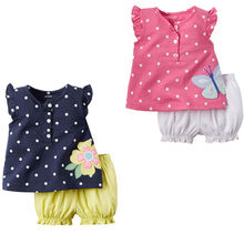 2pcs Girls Summer Clothes Sets Butterfly Flower Newborn Baby Girls Kids Clothes Tops + Shorts Pants Shorts Casual 2pcs Outfits