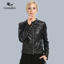 Foxqueen 2016 Коротким Моды Кожаная Куртка Женщины Черный Осень-Весна Дамы Clothing High Quality(China (Mainland))