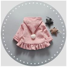 2017 Весной девочка печати симпатичные подол куртки пальто для новорожденных девочек одежда бренда хлопка куртка с капюшоном снаряжение спортивная верхняя одежда пальто(China (Mainland))