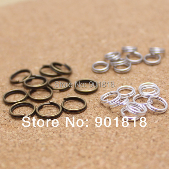 200pcs/bag 10mm wholesale bronze/gold/silver/rhodium Tone split Rings jewelry Findings F906(China (Mainland))