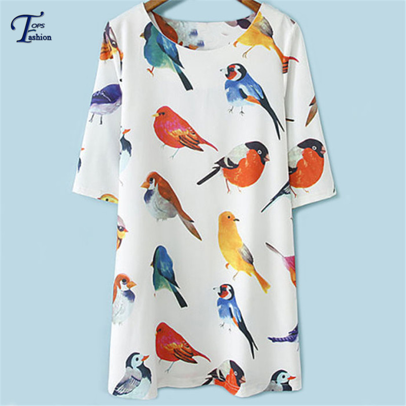2015 New Hot Summer Fashion Women's White Round Neck Half Sleeve Birds Print Shift Loose Short Dress For Women Free Shipping(China (Mainland))