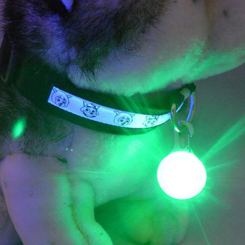 Bright Dog Pet LED Night Safety Flash Light for Collar, Push Button Switch Flashing Pet Dog Collar LED Glowing Collar Accessorie(China (Mainland))