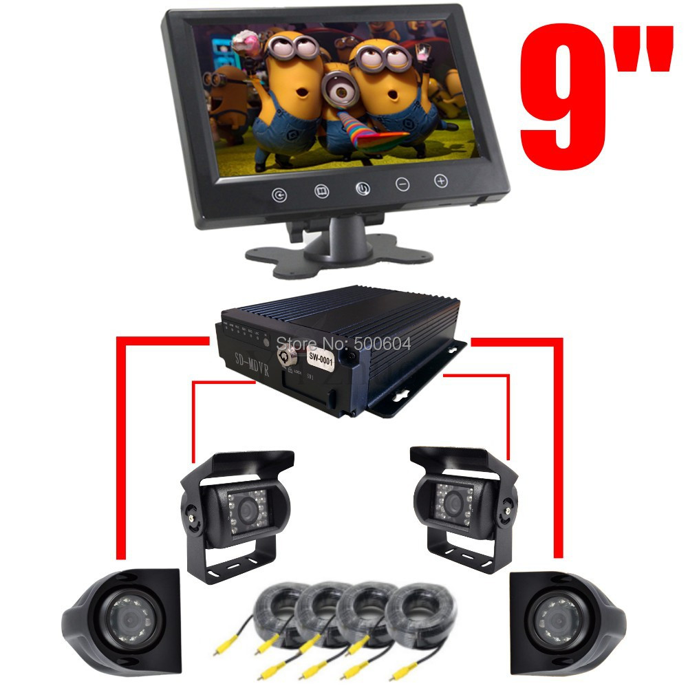 """9"""" LCD Monitor + Quad split SD DVR Recorder + 4 CCD Color Camera Rear Side View Parking Reverse Backup CCTV System for Truck/RV(Hong Kong)"""