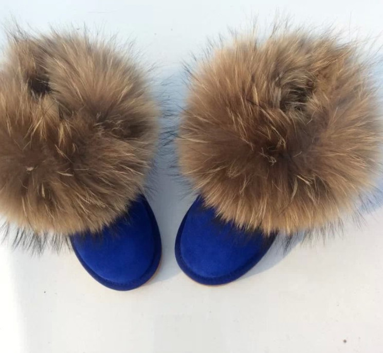 Low Price High Quality Natural 100 Fox Fur Snow Boots Nubuck Leather Low Women s Shoes
