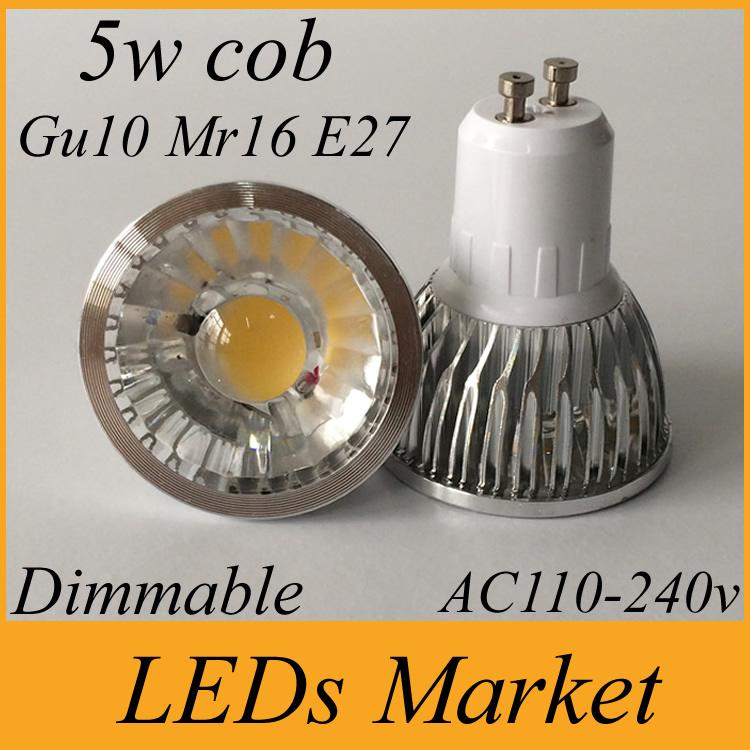 30% off led cob spot light dimmable 5w led lamp gu10 mr16 e27 led spotlight 110-240v 12v led light warm cold white 60angle CRI85(China (Mainland))