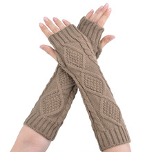 Hot Sale fashion high quality hand knitted half fingers warmer long gloves for women female fashion arm warmers 63(China (Mainland))