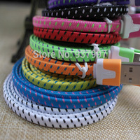 1M 2M 3M High Quality Flat Nylon Braided Fabic Woven 30 Pin USB Data Sync Charger Cable for iPhone 4 4s 3GS