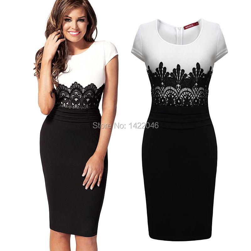 Women's Sexy Slim Summer Short Cocktail Dresses For Women Vintage Crochet Lace Squared Neck Bodycon Pencil Black Dress WDRo129(China (Mainland))