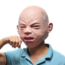 Creepy Halloween Costume Prop Cry Baby Full Head Latex Rubber Masquerade Mask Funny Party Face Masks