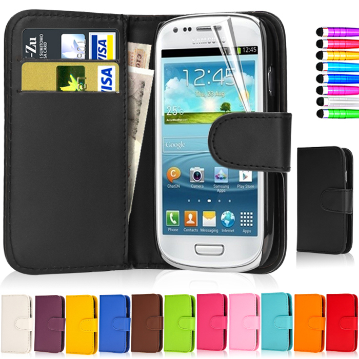 Fashion Leather Dirt-resistant Flip Wallet Cover Case For Samsung Galaxy S3 Mini i8190 Capa Hot Phone Case(China (Mainland))