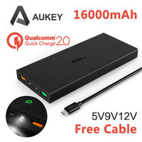 Aukey Quick Charge 2.0 16000mAh Portable External Battery Fast Charger (5V 9V 12V Supported, Quick Charger power bank for S6)