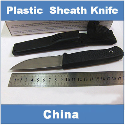 Hot, FK- F1 Plastic sheath hunting knife, camping rescue knives,high quality fixed blade knife(China (Mainland))