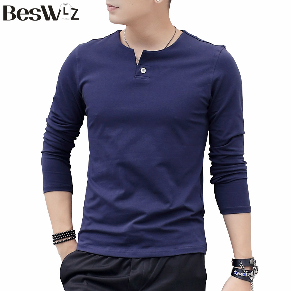 Beswlz New Arrivel Fashion Style Men T-Shirt Autumn Winter Pure Cotton Solid Full-Sleeved V-Neck Warm Slim For Male 7901Одежда и ак�е��уары<br><br><br>Aliexpress
