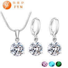 19 Colors Promotion New Silver-Plated Necklace Stud Earring Jewelry Set for Brides Bridal Bridesmaid Wedding Jewelry Sets JS0003(China (Mainland))