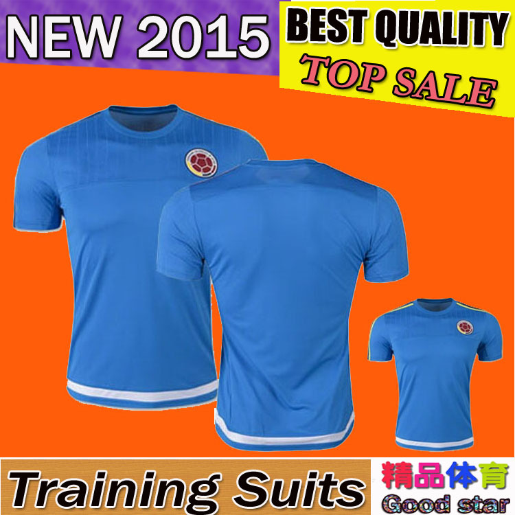 Embroidery logo 15-16 fan version national team 2015 Colombia training jerseys James blue Football Jersey soccer jersey t-shirt(China (Mainland))