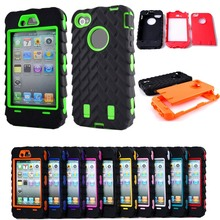 4G Tire Dual Layer Silicone & Hard Plastic Armor Hybrid Protection Plastic Case For Apple iphone 4 4S Mobile Phone Back Cover