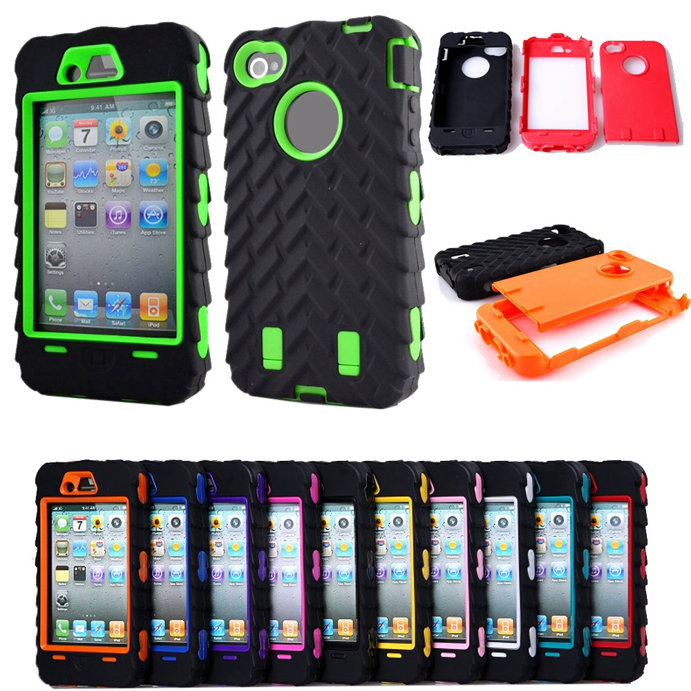 i4G Tire Dual Layer Silicone Hard Plastic Armor Hybrid Protection Plastic Case For Apple iPhone 4 4G 4S Mobile Phone Back Cover(China (Mainland))