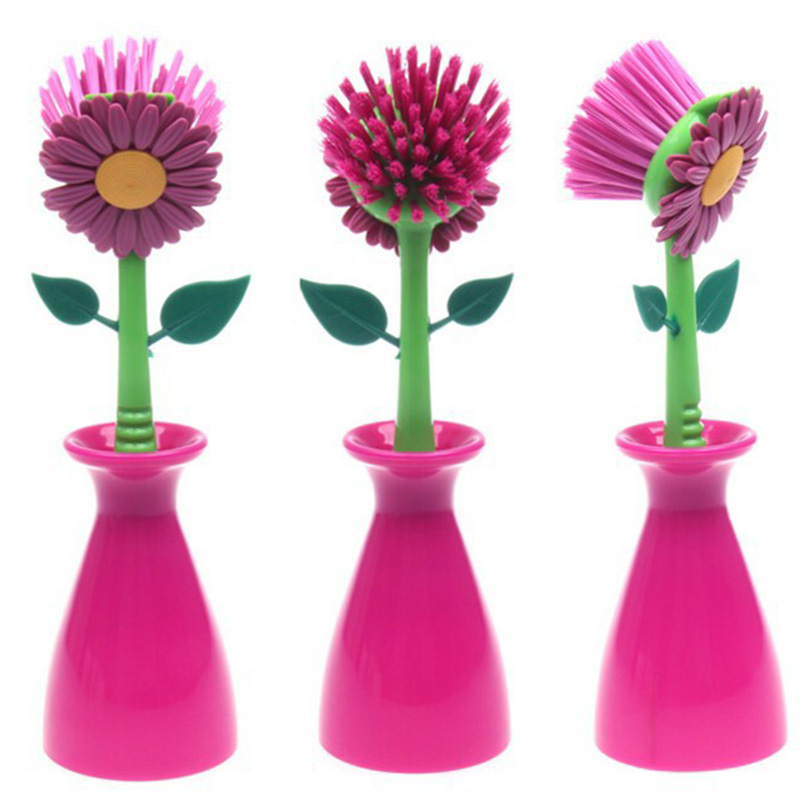 2016 Useful Multifunction Sun Flower Kitchen Cleaning Brush Pan Pot Brush Plastic Brush Cleaning Tool 1pc Free Shipping(China (Mainland))