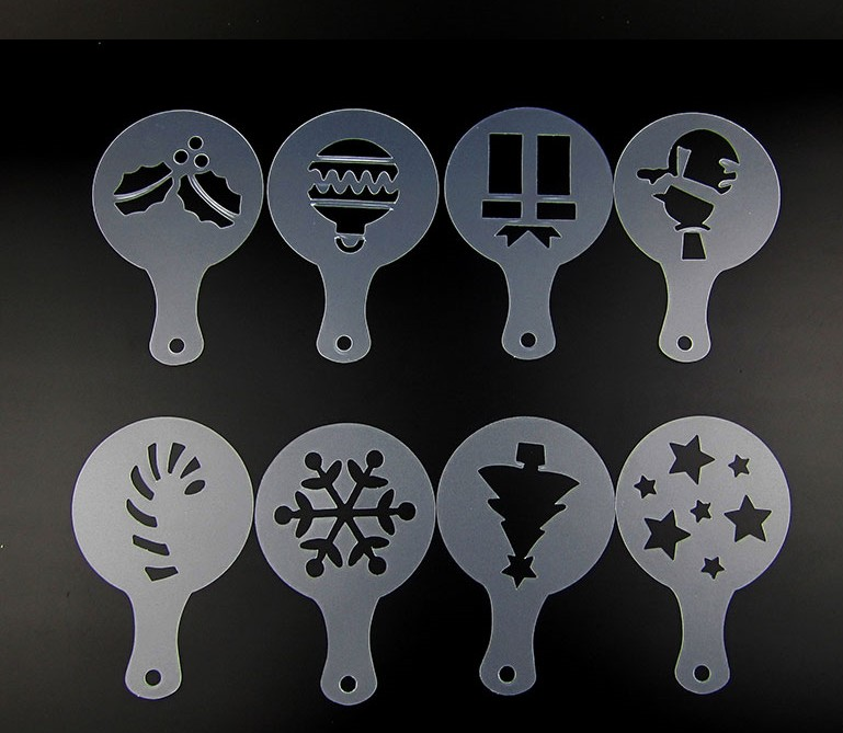 8pcs lot Personality Christmas Cappuccino Coffee Barista Stencils Template Duster Spray Tools Mold Snowman Tree Gift