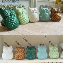 2x OWL Ceramic Cabinet Drawer Knobs Porcelain Kids Wardrobe Handles Furniture Dresser Closet Cupboard Rural Vintage Pulls(China (Mainland))