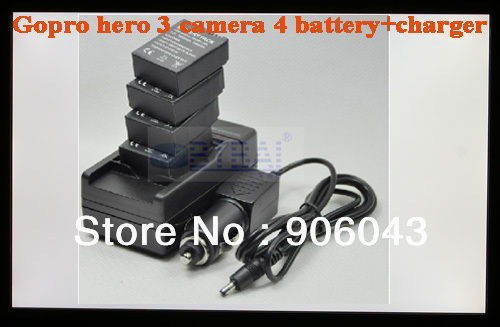 Free shipping 4pcs gopro Battery AHDBT-301 AHDBT-201 + Charger /car charger for GOPRO Hero3 Camera Helmet Surf Naked Motersports