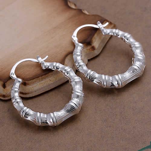 Lose money Promotion! 925 silver earrings, fashion jewelry, Hollow Round Bamboo Shape Earrings E139 - Fashion beautiful jewelry store