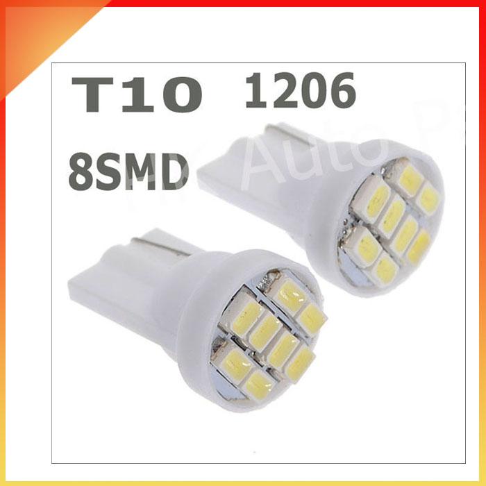 10PCS Ultra Bright White 8SMD LED 3020 T10 W5W Wedge Side Car Light Bulb Lamp(China (Mainland))