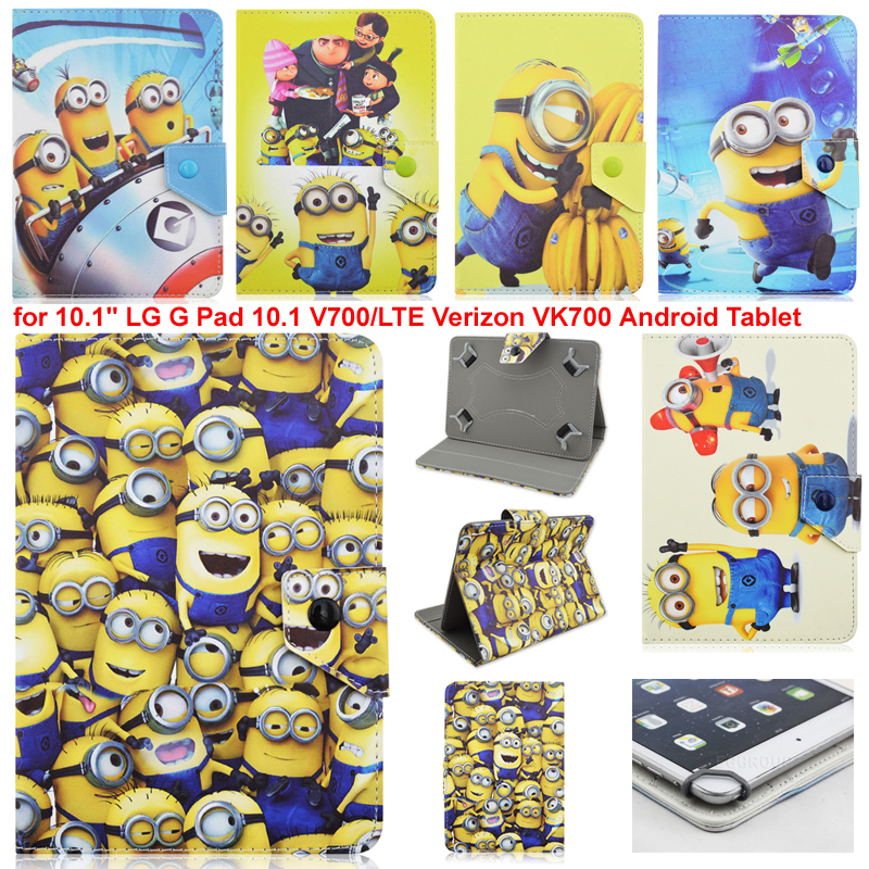 """Despicable me 2 Minions Leather Case Flip Stand Cover for Samsung Galaxy for 10.1"""" LG G Pad 10.1 V700/LTE Verizon VK700 Android(China (Mainland))"""