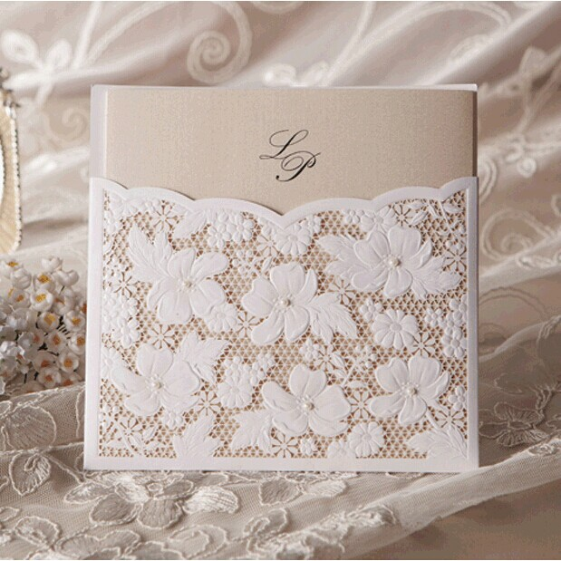 Floral Wedding Invitations 2014 Laser Cut Personalized Invitation Cards With Envelope And Seal