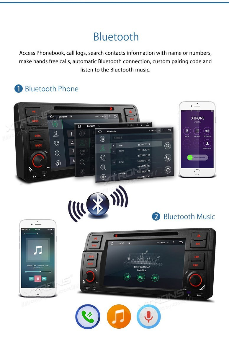 XTRONS 7″Android 5.1 Car DVD Player 1024*600 GPS Navigation Stereo Full RCA Output & Screen Mirroring OBD2 For BMW E46/320/325