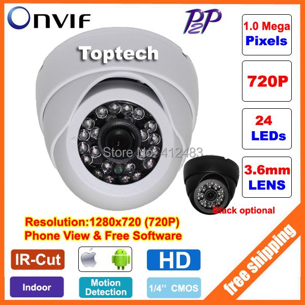 HD 1280*720P 1.0 Megapixels 24pcs IR leds Dome CCTV IP Camera ONVIF 2.0 indoor IR-CUT Night Vision P2P Plug and Play, phone view(China (Mainland))