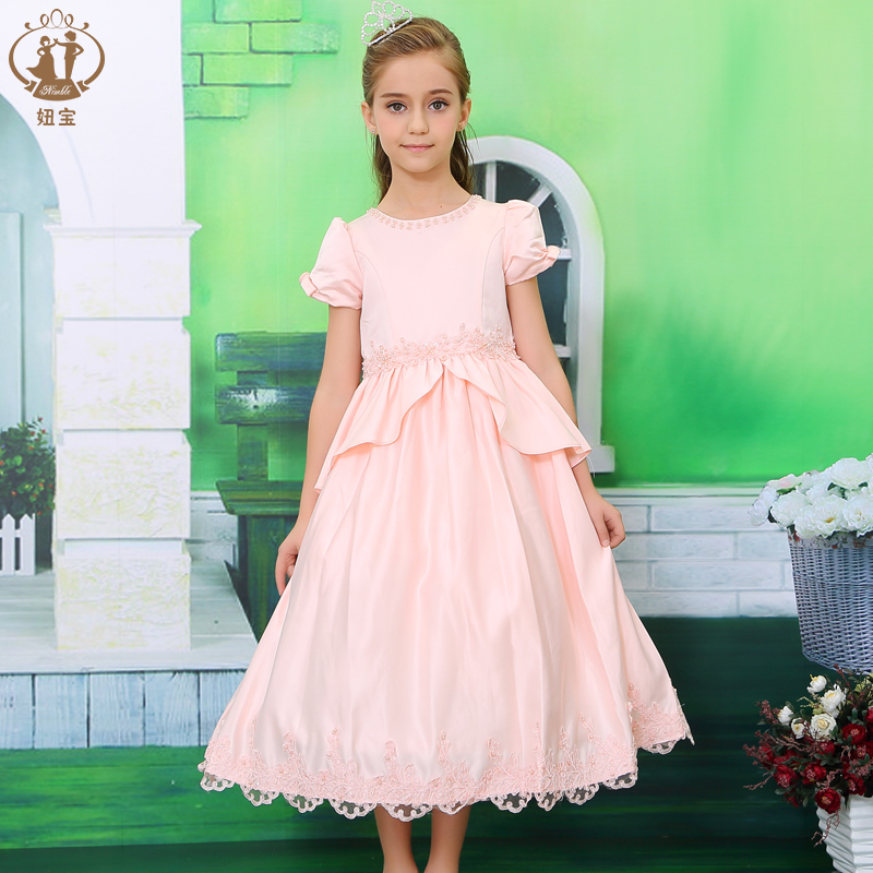 A-line Tulle Pleat Dress Girl Kids Pearl Lace Applique Wedding Pageant Flower Girls Dresses Prom Children - Dongguan Jiahao Apparel & Fashion Co., Ltd store