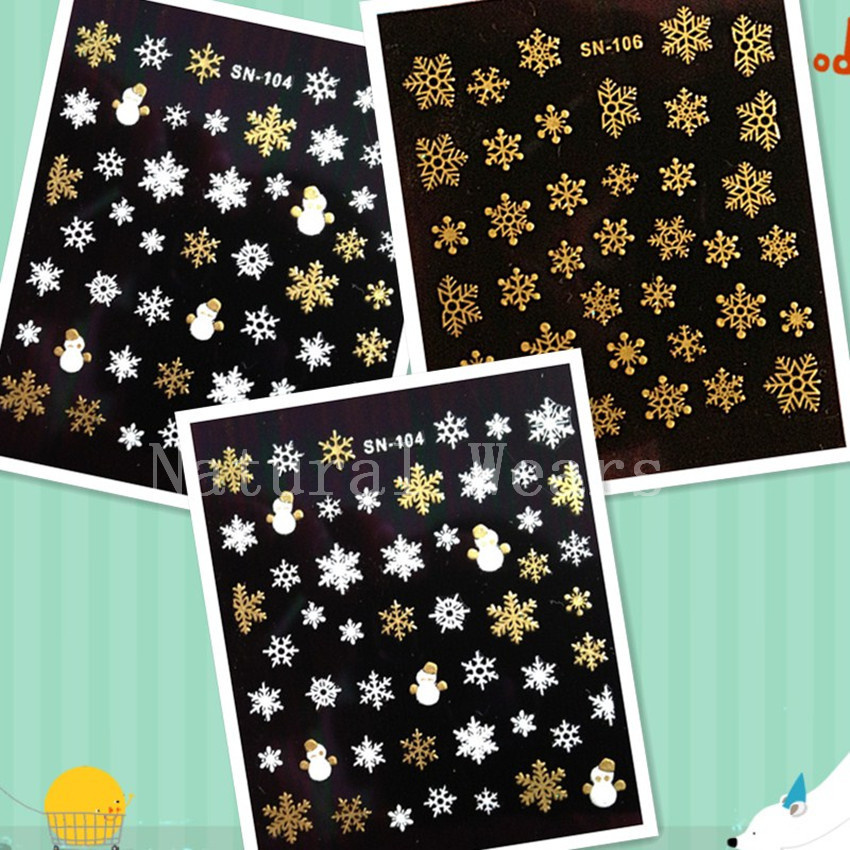 1 Sheet Snowflake Snowman Nail Art Sticker Decal Christmas Festival Nails Decorative Star Stickers Winter Beauty