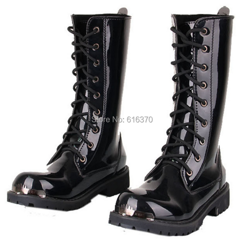 ,Men's Knee-High Boots,Black Punk Patent Leather Lace-Up Shoes,Martin Cowboy Combat Army Boots,US Size 6-11 - Men's Boots Store store