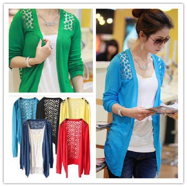 Sweaters 2015 women fashion Candy Long Size Summer Lace Cardigan Sweater Coat for women(China (Mainland))