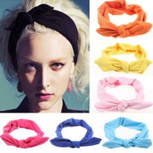 2016 Lovely Elastic Stretch Plain Rabbit Bow Knot Hairbands Turban Headband Ethnic Floral Wide Stretch Girl Hair Accessories