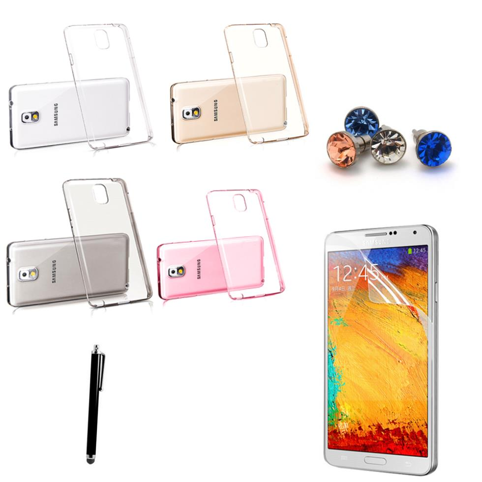 Note 3 New Ultrathin 0.5mm Transparent Clear Crystal TPU Back Cover Case Samsung Galaxy Note3 N9000 +Screen Protector+Stylus - Digital Accessories Shopping Mall store