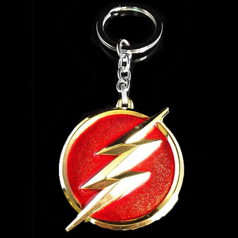 DC Comics The Flash lightning keychain red gold logo 6cm Metal Keychain Keyring gift key chain ring holder for car souvenirs(China (Mainland))