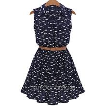 Summer Dress 2016 Fashion Cotton CAT Footprint Sleeveless Lapel Collar Maxi Women Dress Plus Size Vestidos De Festa(China (Mainland))