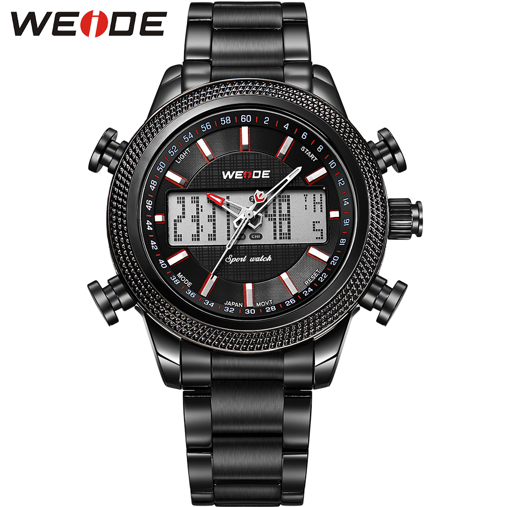WEIDE Mens Watches Top Luxury Brand Analog Digital Display Stainless Steel Waterproof Backlight Sporty Running relogio Tag Hour<br><br>Aliexpress