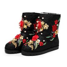 2017 zapatos de Encargo hecho a mano de flores de perlas de lana muy cálido invierno botas de nieve botas mujer bota z574(China (Mainland))