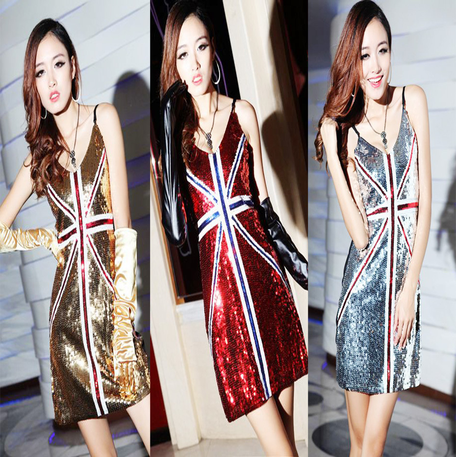 2015 argent / Glod / rouge / noir / bleu sangle Costume drapeau britannique robe Party Club porter Sexy Paillette mince moulante femmes robe tuniques(China (Mainland))