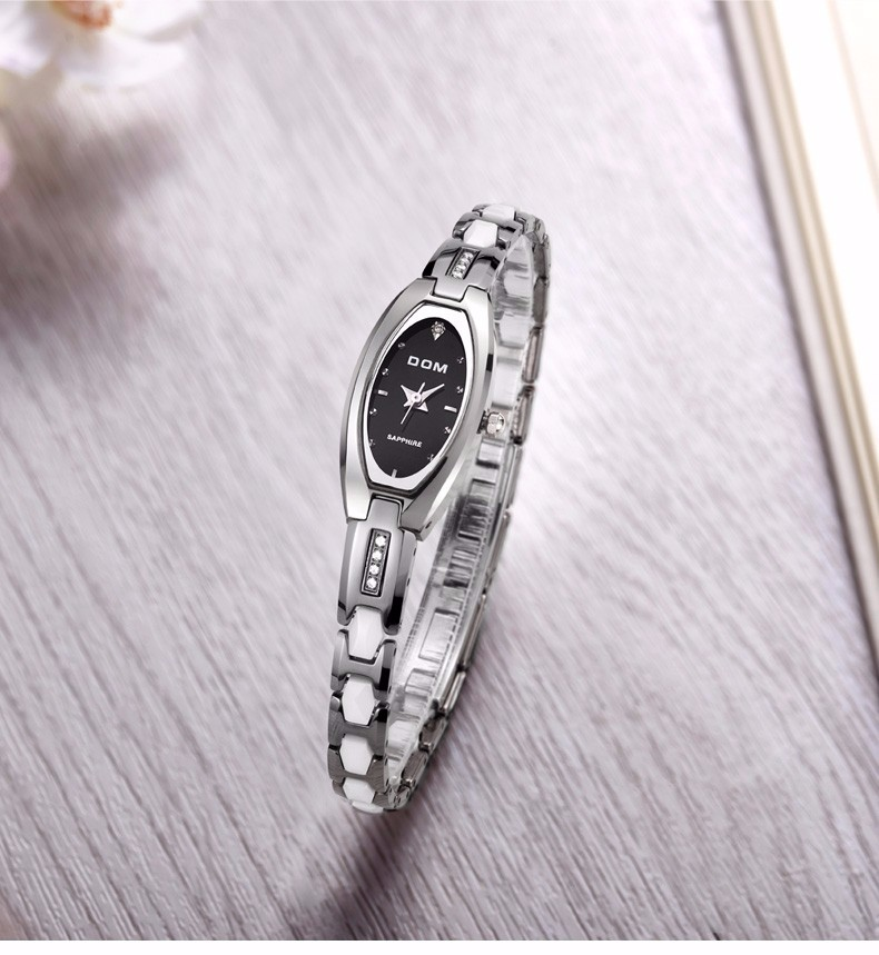 DOM 2016 Женщины Стали Вольфрама Роскошные Часы Женщины Бизнес Часы Водонепроницаемые Часы Моды Старинные Простые женские Часы